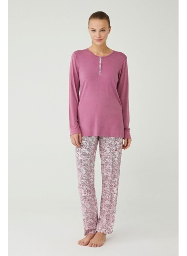 Mod Collection Kadın Gül Kurusu Patlı Pijama Takımı Pembe